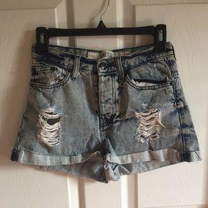 Brandy Melville Distressed Denim Shorts